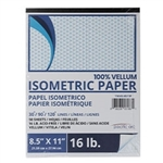 "Isometric Drafting Vellum Pad, 50-sheets - 8.5"" x 11"",Clearprint Vellum Sketch Pad - Isometric Grid,Drafting Vellum Isometric 50-sht pad - 16 lb"