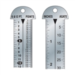 "12"" Stainless Steel Pica Pole Ruler: INCH and PICAS,Ruler: stainless - pica pole,inch/pica,Stainless Steel Pica Ruler,Printer's 12"" Line Gauge Pica Ruler/2-Sided,Stainless Steel/Inch-Point/Point-Agate"