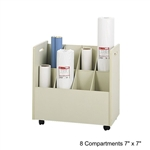 Safco Mobile Roll File with 8 Compartment 3045,SFF-3046,OE131,safco mobile roll file,rolled file storage,blueprint file storage,roll file storage box,upright roll file,wire roll file