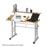 "Safco Height Adjustable Split Level Drafting Table 3965MO,Safco Products,Safco drafting table,Safco 3965MO,Drafting Table Safco,SAF3965MO,Rectangle1200mm x 37"",Steel - Medium Oak Top,tables & desks Safco, 3965mo,1011092480,56101707"