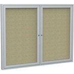 "PA23660K 2-Door 36""x60"" Satin Aluminum Frame Enclosed Tackboard - Natural Cork, PA34872K 48 x 72"", PA34896K 48 x 96"""