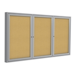 "PA33672K - 36""x72"" 3-Door Satin Aluminum Frame Enclosed Tackboard - Natural Cork,PA34872K 48 x 72"",PA34896K 48 x 96"",PA33672K - 36""x72"" 3-Door Satin Aluminum Frame Enclosed Tackboard - Natural Cork"