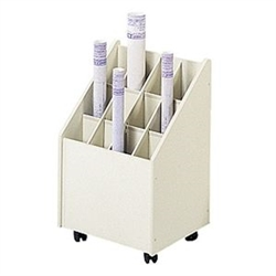 Safco Mobile Roll File With 12 Compartment 3042
