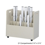 Safco Mobile Roll File with 21 Compartment 3043,SFF-3043,OE677,safco mobile roll file,rolled file storage,blueprint file storage,roll file storage box,upright roll file,wire roll file