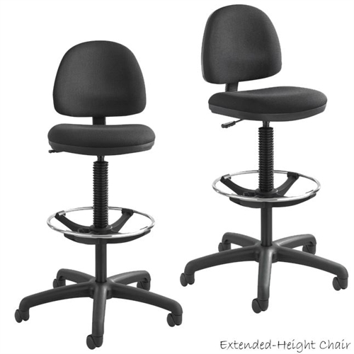 Safco 3401BL,Safco Precision Extended Height Swivel Stool W/Adjustable  Footring,Black Vinyl