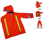 Orange High Visibility 3pc Rain Suite, Flame Retardant